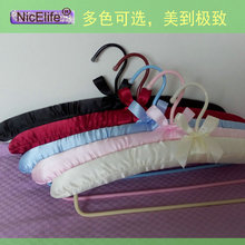5pcs Satin fabric trousers rack package hanger hook thick skin tube sponge seamless clothes hanger wholesale(China)