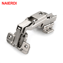 4PCS NAIERDI CA003 175 Degree Cold Rolled Steel Fixed Hinge Rustless Iron Cabinet Cupboard Door Hinges For Furniture Hardware(China)