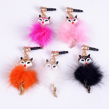 .Free shipping 10pcs/1lot.Whole sale.Fox diamond Dust plug.3.5mm plug for Mobile phone ornaments mix-color order