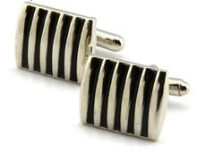 18 mm * 15 mm stripe of the lacquer that bake cufflinks cuff Men's gift fashion 1pair Two color choices free shipping(China)