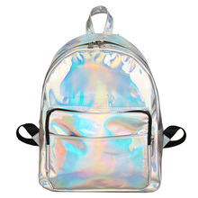 New fashion hologram laser backpack female student pu leisure travel backpack casua silver mini holographic backpacks for girl(China)