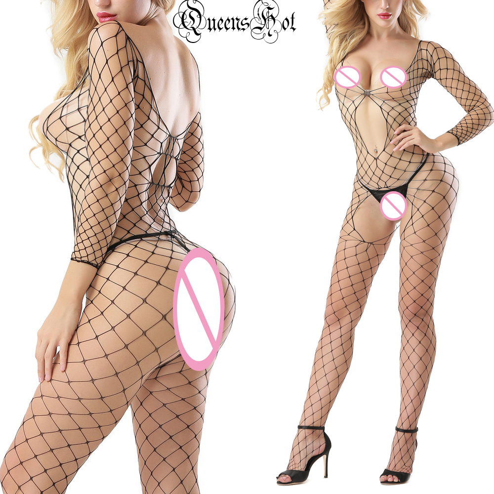Sexy Erotic Fishnet Lycra Fencenet Long Sleeved Open Bust Crotch Bodystocking Catsuit Bodysuit Babydoll Latex Wetlook Costumes
