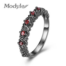 Modyle 2017 Fashion Trend Classic Punk Simple Ring for Men Women Wedding Party Red Green Round Cubic Zircon Engagement Rings(China)