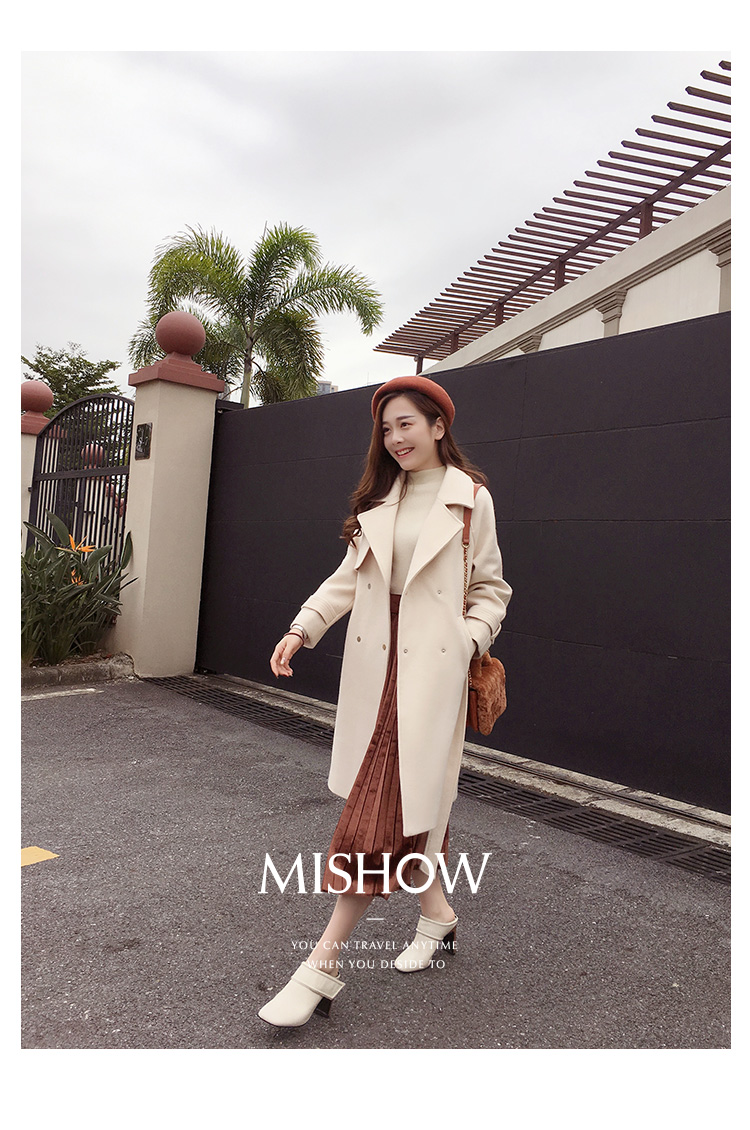 Mishow 19 autumn and winter woolen coat female Mid-Long New Korean temperament women's popular woolen coat MX17D9636 13