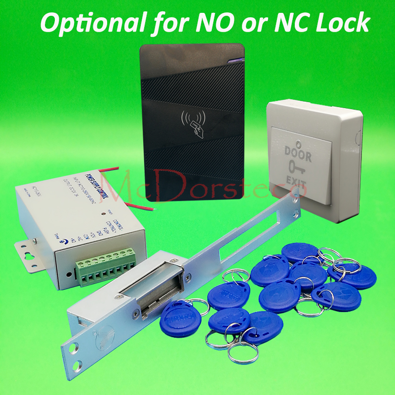 DIY 125khz Rfid waterproof Door Access Control Kit Set with yli Long type No or Nc Electric Strike Lock System <br>