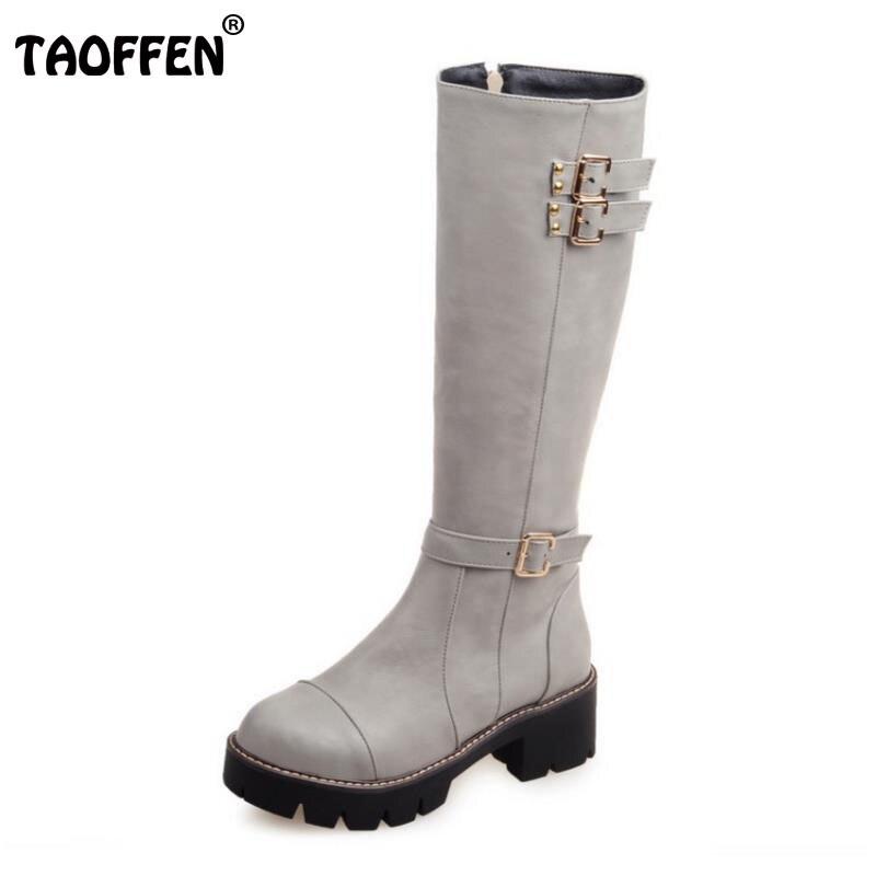 TAOFFEN Size 33-43 Women Knee Boots Rivet Zipper High Heel Boots Thick Fur Shoes For Cold Winter Boots Long Botas Women Footwear<br>