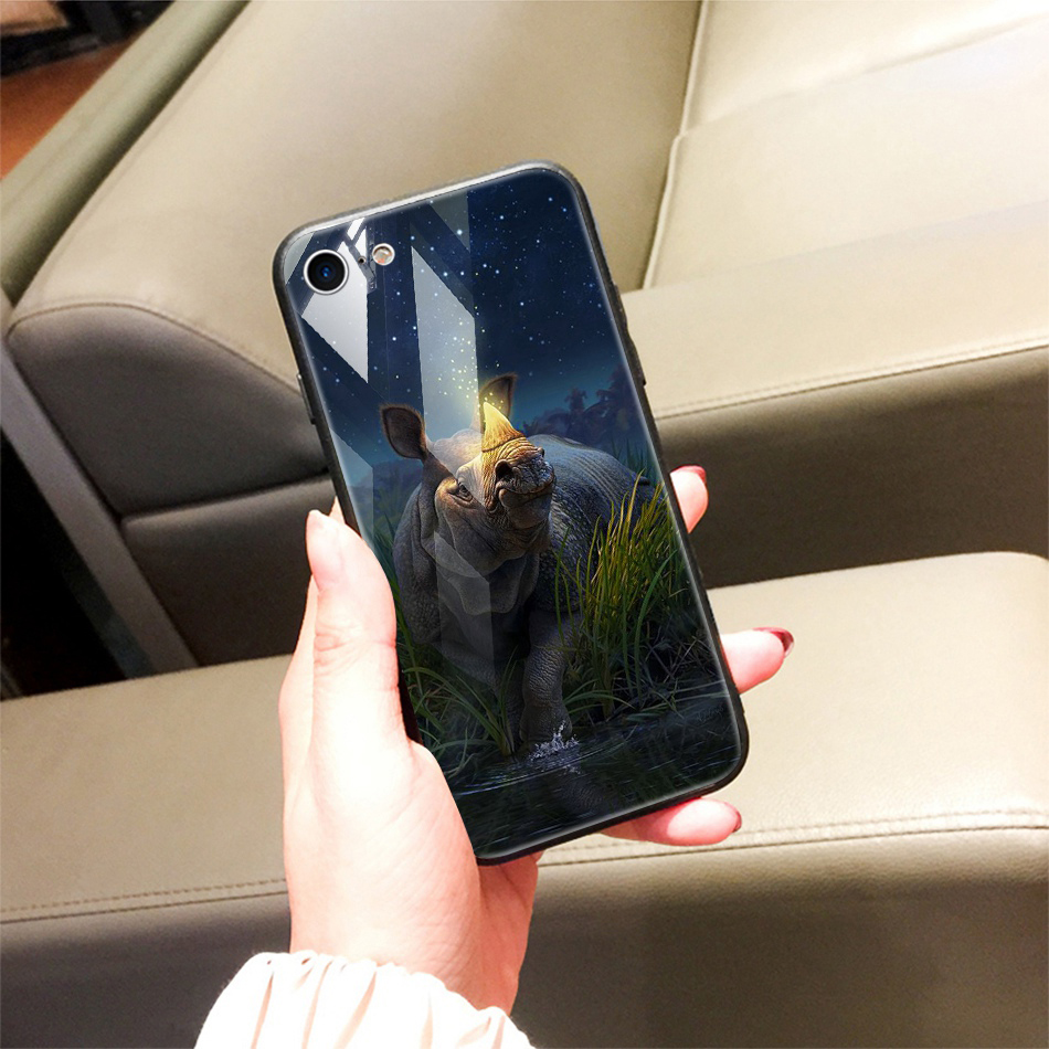 TOMKAS Animal Glass Case For iPhone X 8 7 10 6 Cover Phone Cases For iPhone X 7 8 6 6s Plus Case Luxury Cute TPU PC Covers Coque (19)
