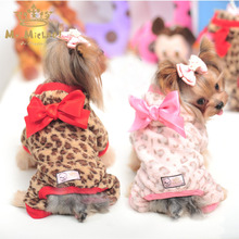 Leopard print dog clothes spring Autumn And Winter dog Jumpsuit pet clothes for small dogs and cats cute bowknot pink xxs(China)