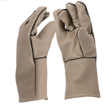 Free shipping hot selling genuine leather welding glove with velvet lining safety cow grain leather protect gardening work glove(China)