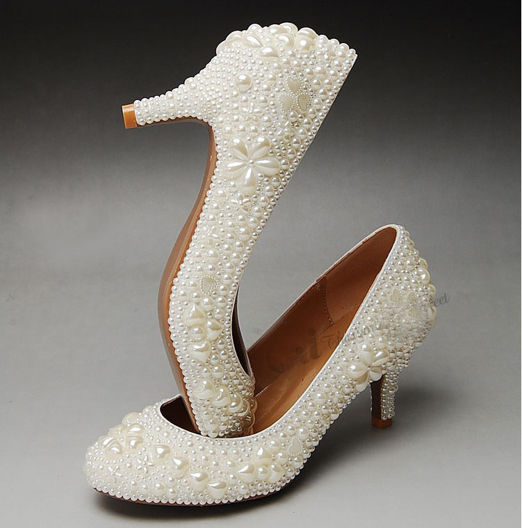 2016  New Style Round Toe Middle Heel Shoes for Bride  Party Shoes Full Pearl Bridal Wedding Dress Shoes  Size 34-41<br><br>Aliexpress