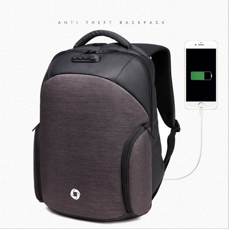 OZUKO Men Backpacks USB Charge Computer Backpack Password Lock 15.6 Inch Laptop Anti-Theft Backpack School Bags For Teenagers<br>