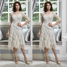 Plus Size vestido de madrinha mother of the bride dresses Lace Appliques Half Sleeves  2017 Knee Length Silver Formal Gowns