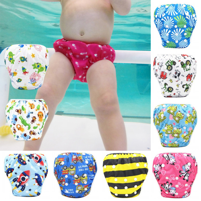 Toddler Boys Girls Swimming Shorts Reusable Unisex Swimming Nappies Diapers Sets