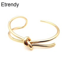 Simple Handmade New Fashion Open Bracelet Adjustable Trendy Jewelry Gold-color Cuff Bracelets & Bangles For Women Rock Bijoux