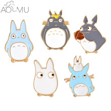 AOMU 5 pcs/set Cartoon Totoro Cat Metal Enamel Brooch Pins Women Men Denim Jacket Collar Badge Jewelry(China)