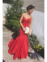 Vestido De Festa Sweetheart Strapless Red Mermaid 2017 New Prom Dress With Court Train Log Formal Party Dress