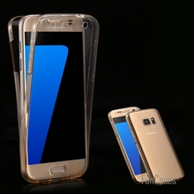Clear Full Coverage Case S7 S7 Edge Transparent 360 Degree Protective Phone Cover for Samsung Galaxy S7 S7 Edge TPU Accessories(China)
