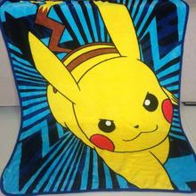 Pikachu Children Cartoon pattern Coral fleece blankets can be as bedclothes the throws size 100/130cm Home textiles(China)