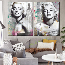 2 Pieces Canvas Prints Marilyn Monroe Canvas Art Home Decor Wall Art Wall Pictures American Actress Painting No Frame