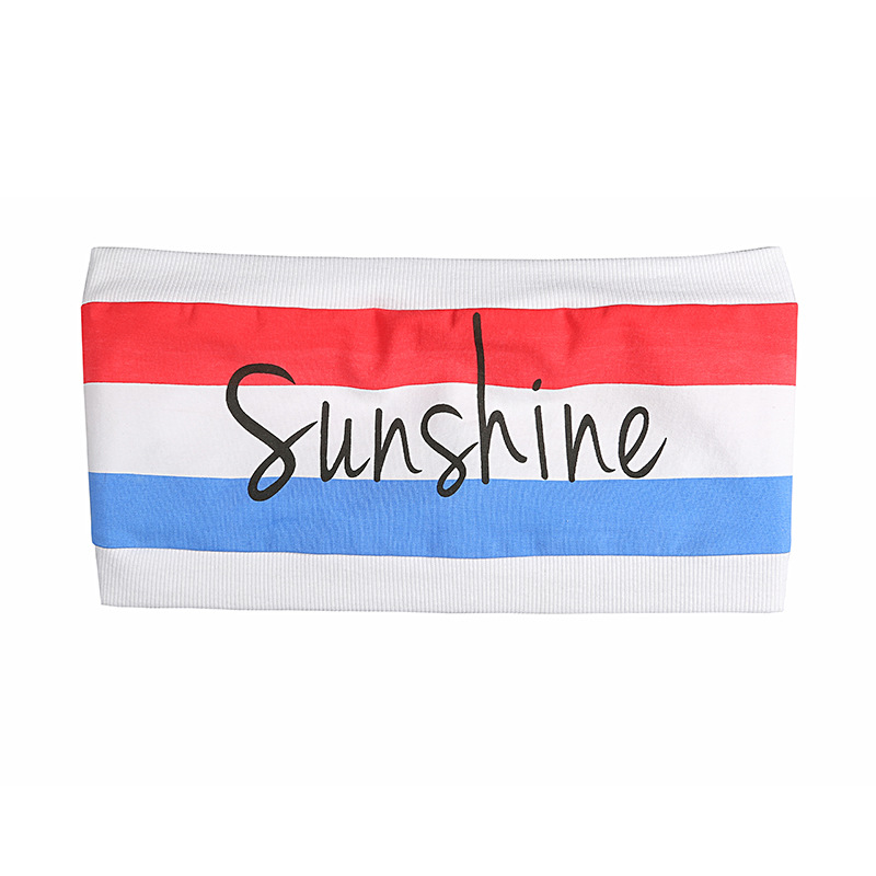 OUBINEW 17 summer Tube Tops bare shoulder shorts crop top printing sunshine letter red and blue stripe wrap chest T2230Z 11