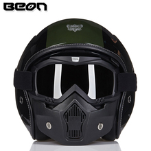 Detachable BEON Goggles Mask Perfect for Open Face Motorcycle Half Helmet or Vintage Helmets New Fashion visor ski snowboard