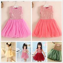 2016 New Pretty Girls Sequins Dress Summer Cotton girls Glitter Sequin Tulle Splicing Sleeveless Dressy Dresses vest dress