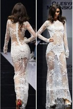 Vestido de noche New Design 2016 Sexy Evening Dresses White Boat Neck Long Sleeve See through Mermaid Maxi Lace Prom Dress AA77