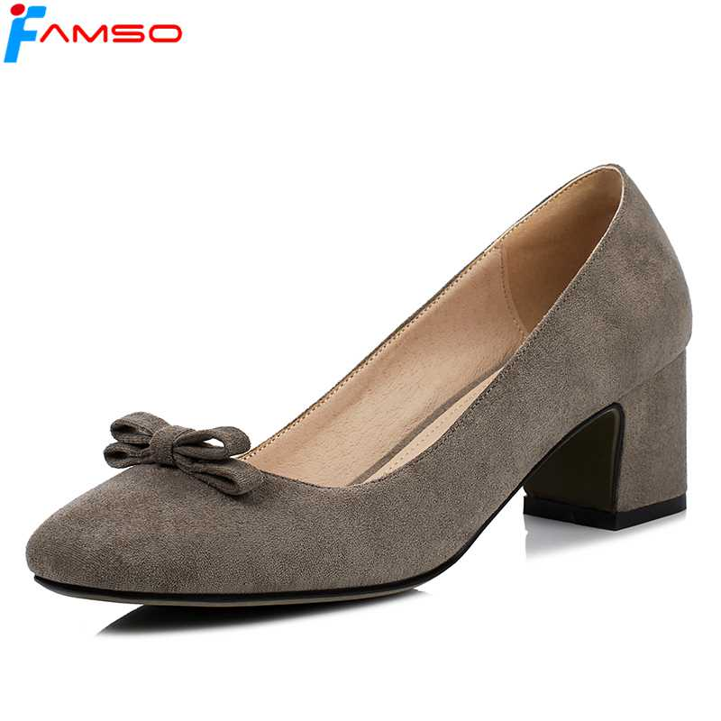 FAMSO 2018 Big Size34-43 New Spring Arrival Women Pumps Shoes Flowers Round Toe Platforms Pumps Female Leather Sheepskin Shoes<br>