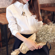 Mori Girl Solid Color Embroidery Kitty Blouse Fall 2017 Long Sleeve Cotton Shirts Preppy Style Clothing(China)