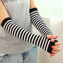 1PC Hot High Quality Fashion Women Soft Fingerless Gloves Knitting Stripes Long Arm Warmer(China)