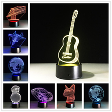 New Fashion 7 Color Holiday Guitar Map Car 3D Ilusion LED Night Light 3D Lamp With Touch Sensor Switch Children Gifts Toys