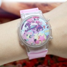 Free Shipping 10Pcs/Lot Girls Cartoon Watches My Little Poly Led Digital Watches With Color Lights Flashing Silicone Watches Hot