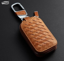 Car Skin Leather Key Holder Bag Chain Case Wallet For GMC Tesla Model S Model X Scion Lincoln MKX MKT MKS Chrysler Accessories(China)