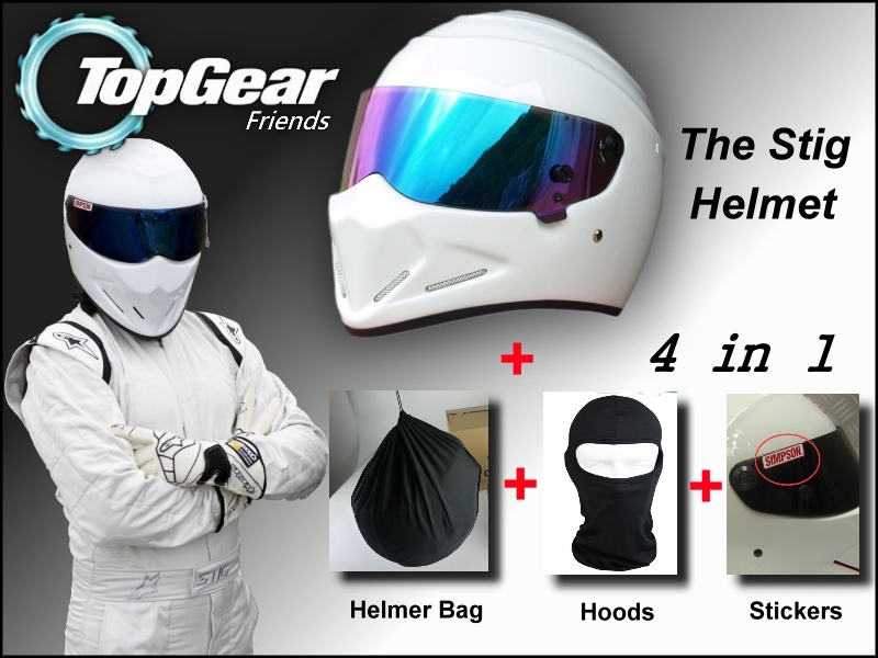 White Helmet + Hood Hat + Stickers + Bag For Top Gear The STIG Helmet Colorful Visor / as SIMPSON Pig / Motorcycle / TopGear Use<br><br>Aliexpress