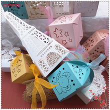 50pcs Romantic Candy Box Wedding Gift Bag With Ribbon Paper Candy Box Gifts For Guests Baby Shower Wedding Decoration 5ZT82(China)