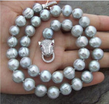 Genuine classic AAA 12-13mm south sea natural silver grey pearl necklace 18 inct