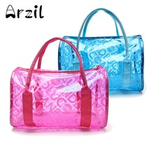 Cosmetic Bag Beach Travel Outdoor Jelly Candy Colors Clear Fashion New Transparent Handbag Tote Shoulder Bags For Women(China)