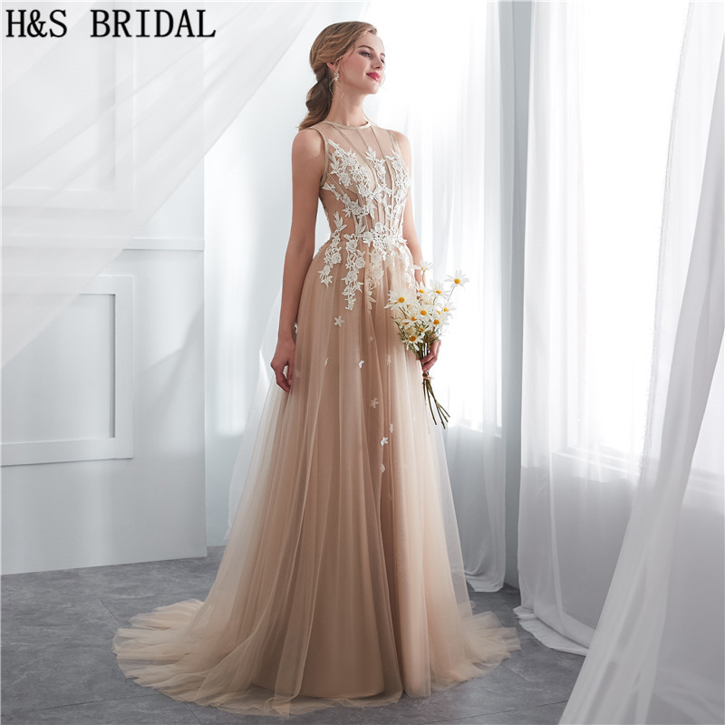 H S BRIDAL Champagne summer beach wedding dresses sweep train simple cheap wedding  gowns 2018 vestidos de novia. 24a 24b 24e ... 682ab7dbef41