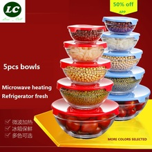 free shipping glass bowls 5pcs/set mixing bowl Heat-resistant glass fresh salad / bubble / bowl with PP cover lunch box(China)