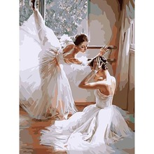 2017 Top Fashion Hot Sale Diy Painting Ballet Dancer Canvas Picture By Numbers High Quality Hand Painted 40x50cm Unframed(China)