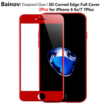 Bainov 2Pcs/lot 3D Full Cover Red Glossy Carbon Fiber Tempered Glass For iPhone 7 7Plus Screen Protector Film For iPhone 6 6s