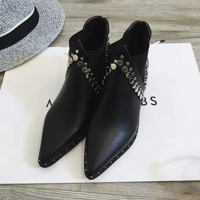 Rivets 2016 spring single boots pointed toe thick heel ankle boots ladies short boots womens boots<br><br>Aliexpress