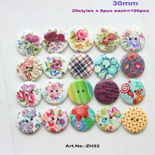 (mixed 20 items,5pcs each,100pcs/lot) flower mix wooden buttons wood crafts scrapbooking home decor gift sew buttons 30MM-ZH32(China)