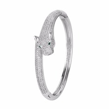 Bella Fashion Luxury Clear Single Panther Leopard Bangle Cubic Zircon Animal Bangle For Women Party Jewelry Gift(China)