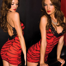 Nylon Print Red Zebra Lace Halter Slip Porn Dress Baby Doll Sexy Lingerie Hot Erotic Women Transparent Sexy Nightwear Sleepwear