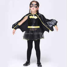 New Girls Cosplay Bat Costumes Animal Cosplay Cute Black Batman Costume Halloween Costume For Kids Connect Wings Batman Clothes