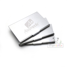 Fashion metal card stock business card holder high range promotional card box with your logo and telephone customized(China)