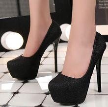 New Arrival Hot Sale Specials Sweet Girl Noble Round Head Silver Sequins Platform Nightclub Party Heel Single Shoes EU34-39