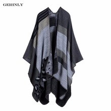 GERINLY Winter Scarf Women Cashmere Imitation Scarves Ladies Poncho Capes Fashion Leopard Design Blanket Shawl Warm Wrap