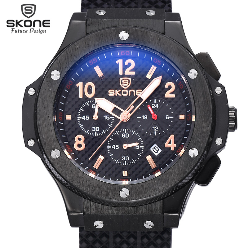 SKONE Auto Date Chronograph Men Watch Waterproof Fashion Casual Silicone Strap Military Sport Watches Clock Relogio masculino(China (Mainland))